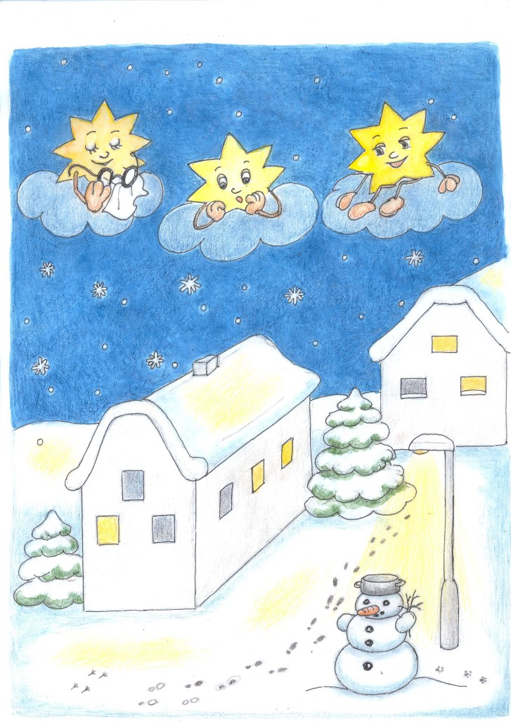 Kapitola_25_B Hvězdičky koukají na sníh a sněhuláka
