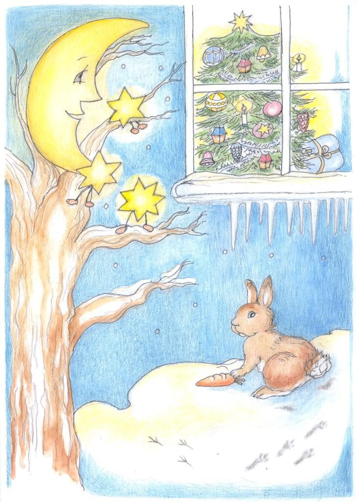 Kapitola_27_B Měsíček a hvězdičky nakukují do pokoje s vánočním stromečkem
