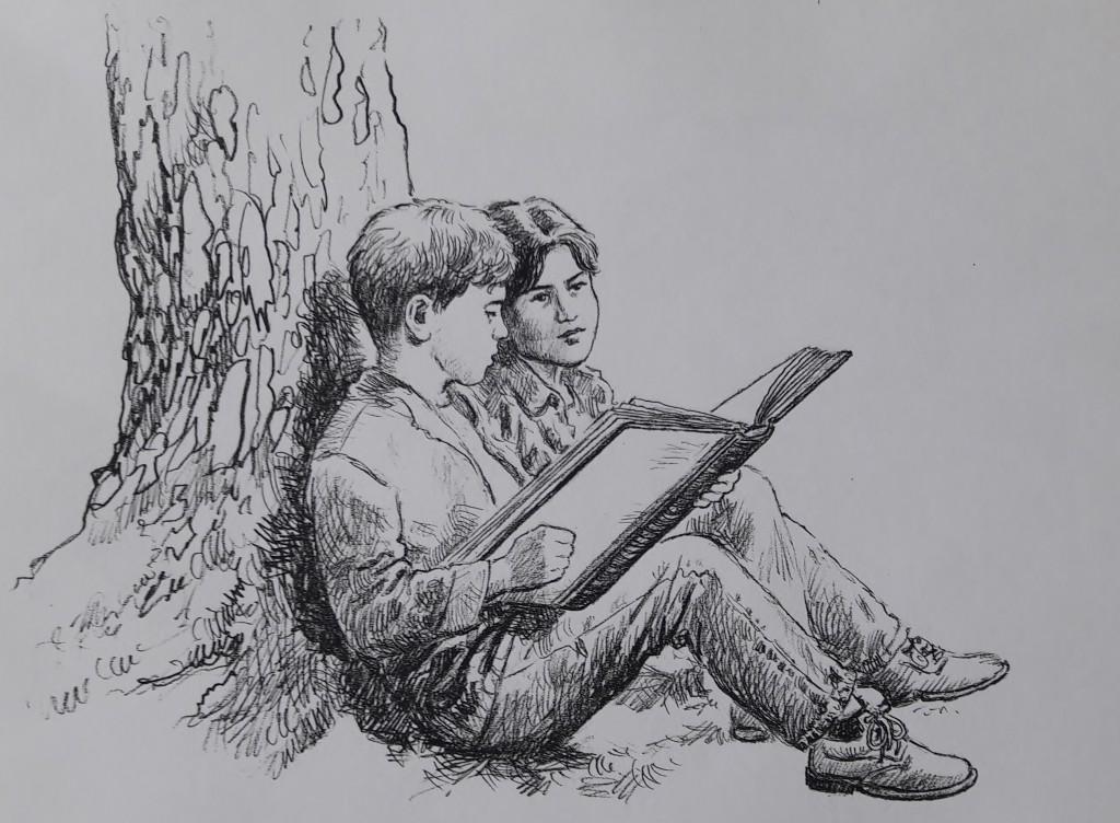 Chris s Troyem si prohlíží knihu o ještěrech a dracích